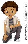 tanned boy on white background... | Shutterstock .eps vector #1160642161