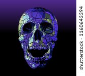 breaking polygonal art skull... | Shutterstock .eps vector #1160643394