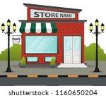flat design store front with... | Shutterstock .eps vector #1160650204