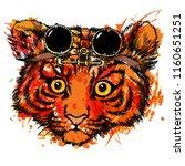 cute tiger cub steampunk goggles | Shutterstock .eps vector #1160651251