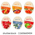 set of labels of berries and... | Shutterstock .eps vector #1160660404