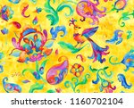 watercolor flores  nightingale... | Shutterstock . vector #1160702104