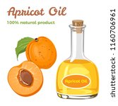 apricot kernel oil in a glass... | Shutterstock .eps vector #1160706961