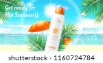 sunscreen spray ads on resort... | Shutterstock .eps vector #1160724784