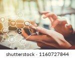communication fintech sign icon ... | Shutterstock . vector #1160727844