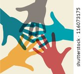 team symbol. multicolored hands | Shutterstock .eps vector #116073175