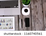 comfortable workplace with... | Shutterstock . vector #1160740561