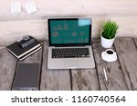 stylish workspace with computer ...   Shutterstock . vector #1160740564