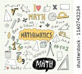 hand drawn mathematical doodle... | Shutterstock .eps vector #1160743234