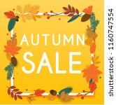 autumn sale banner with leafs ... | Shutterstock .eps vector #1160747554