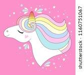 vector unicorn head. cute white ... | Shutterstock .eps vector #1160751067