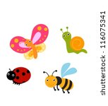 Stock vector set of fun insects 116075341