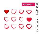 heart icons set. hand drawn... | Shutterstock .eps vector #1160754031