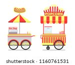 street food carts tasty popcorn ... | Shutterstock .eps vector #1160761531