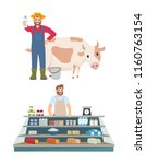 farmer and vendor icons set... | Shutterstock .eps vector #1160763154