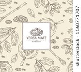 Background with yerba mate: drink mate, bomber, calabash, and mate branch and leaves. Vector hand drawn illustration.