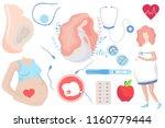 pregnancy set illustrations.... | Shutterstock .eps vector #1160779444