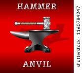 black anvil and forging hammer... | Shutterstock .eps vector #1160784247