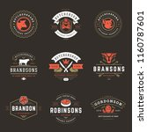 butcher shop logos set vector... | Shutterstock .eps vector #1160787601