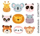 cute animal faces. hand drawn...   Shutterstock .eps vector #1160790367