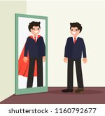 businessman sees his reflection ... | Shutterstock .eps vector #1160792677