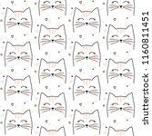 seamless cat pattern. cute... | Shutterstock .eps vector #1160811451