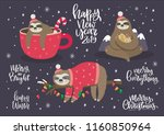 Stock vector merry christmas card with cute sloth hello winter print happy new year card 1160850964