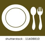 Dinner plate fork spoon silverware cutlery place setting - stock photo