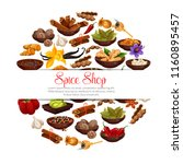 spices and herbs in bowls... | Shutterstock .eps vector #1160895457