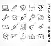 set of freehand linear school... | Shutterstock .eps vector #1160904694