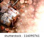 christmas background lights on ... | Shutterstock . vector #116090761