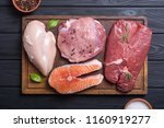 mix of steak meat   salmon  ... | Shutterstock . vector #1160919277