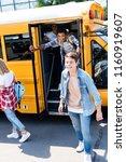 group of teen scholars running... | Shutterstock . vector #1160919607