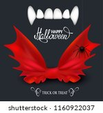 vampire teeth and red bow tie.... | Shutterstock .eps vector #1160922037