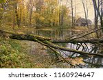 abandoned old park with a pond  ... | Shutterstock . vector #1160924647