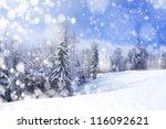beautiful winter landscape with ... | Shutterstock . vector #116092621
