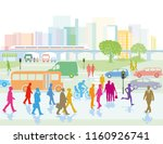 big city with people in the... | Shutterstock . vector #1160926741