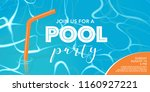 pool party poster  banner with... | Shutterstock .eps vector #1160927221