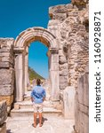ephesus ruins  turkey  young... | Shutterstock . vector #1160928871