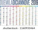 2019 italian calendar with... | Shutterstock .eps vector #1160933464
