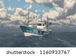 fishing trawler in the stormy... | Shutterstock . vector #1160933767