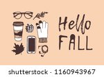 hand drawn autumn illustration... | Shutterstock .eps vector #1160943967