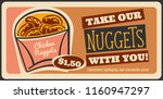 chicken nuggets fast food retro ... | Shutterstock .eps vector #1160947297