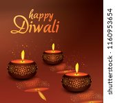 happy diwali three candle design | Shutterstock .eps vector #1160953654
