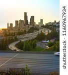 busy traffic on i 5 freeway at... | Shutterstock . vector #1160967934