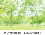 blurred of green trees lawn... | Shutterstock . vector #1160990854
