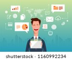 handsome business man holds a... | Shutterstock .eps vector #1160992234
