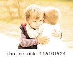 portrait of two little brothers.... | Shutterstock . vector #116101924