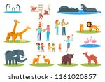 zoo icon set. vector flat... | Shutterstock .eps vector #1161020857