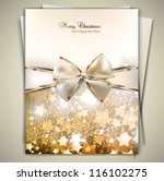greeting card with white bow... | Shutterstock .eps vector #116102275